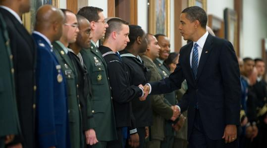 Obama Shaking Hands with US Veterans