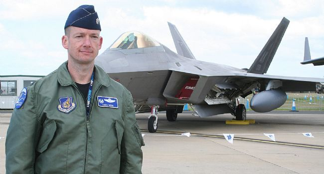 US Air Force Lieutenant Colonel Chris Niemi, pilot of F 22 Raptor.